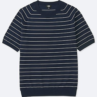 MEN WASHABLE STRIPED CREWNECK SHORT-SLEEVE SWEATER, NAVY, medium