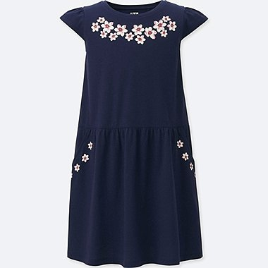 GIRLS STUDIO SANDERSON FOR UNIQLO GRAPHIC DRESS, NAVY, medium