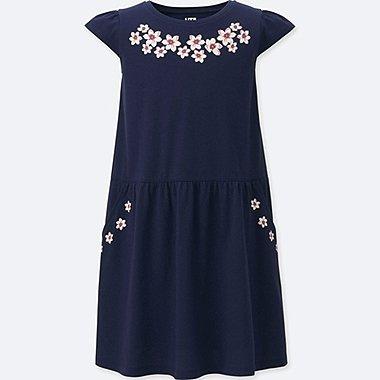 GIRLS STUDIO SANDERSON FOR UNIQLO GRAPHIC DRESS, NAVY, medium