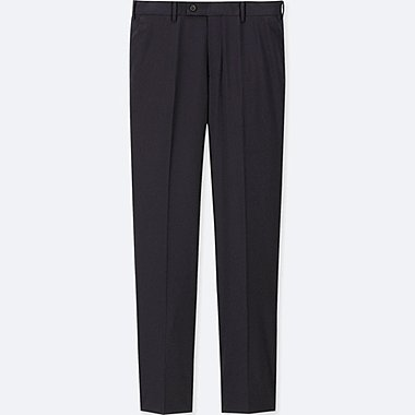 MEN STRETCH WOOL FLAT-FRONT PANTS (ONLINE EXCLUSIVE), NAVY, medium