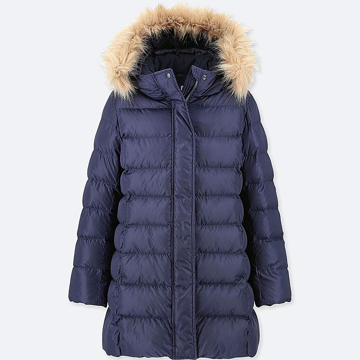 GIRLS WARM PADDED COAT, NAVY, large