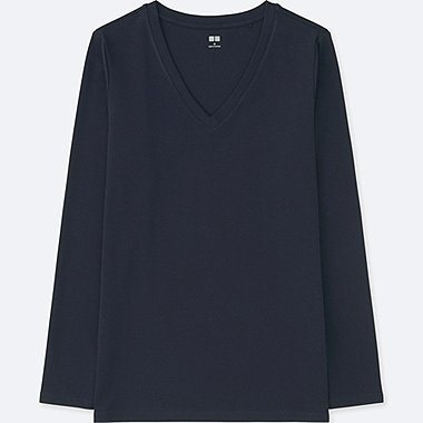 WOMAN COMPACT COTTON V NECK LONG SLEEVED T-SHIRT