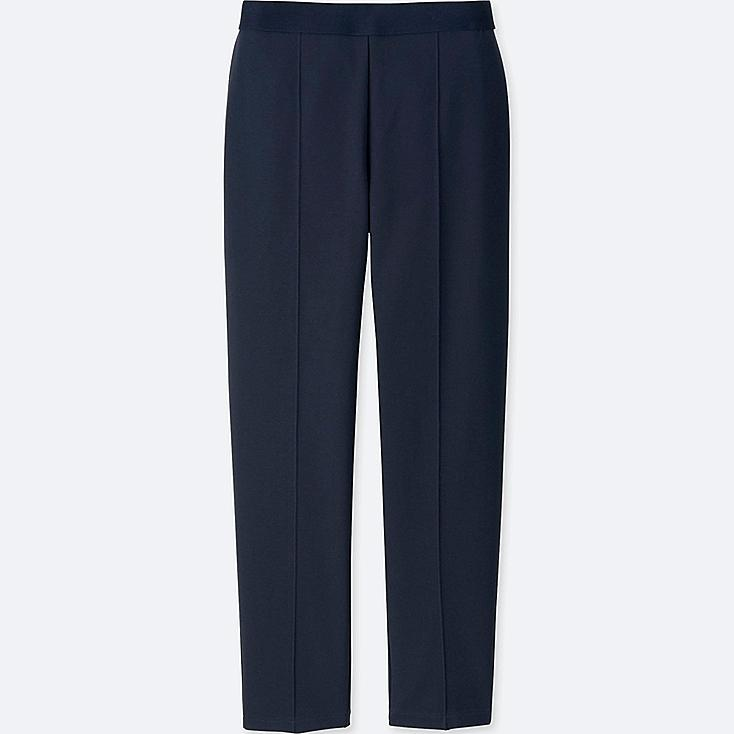 WOMEN PONTE SLIM PANTS, NAVY, large