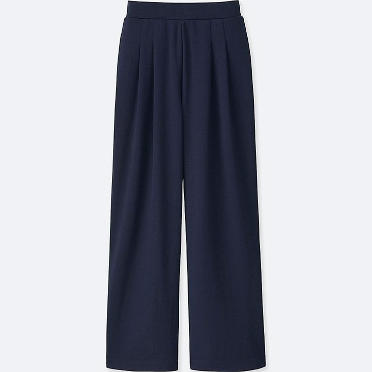 WOMEN PONTE TUCK WIDE PANTS, NAVY, large