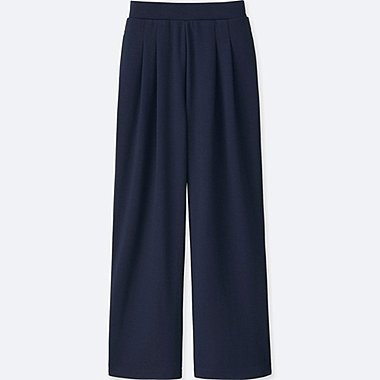 WOMEN PONTE TUCK WIDE PANTS, NAVY, medium