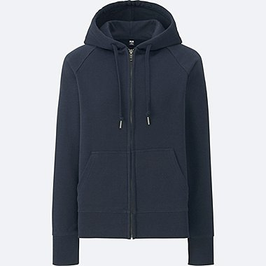 WOMEN SWEAT LONG-SLEEVE FULL-ZIP HOODIE, NAVY, medium