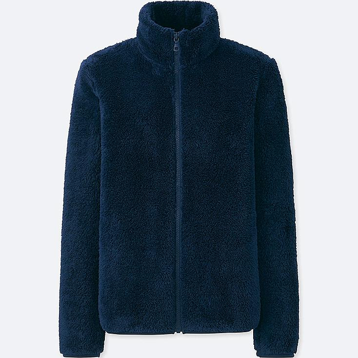 WOMEN FLUFFY YARN FLEECE FULL-ZIP JACKET, NAVY, large