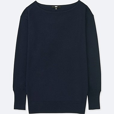 WOMEN EXTRA FINE MERINO RELAXED FIT BOAT NECK JUMPER