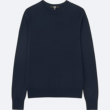 WOMEN EXTRA FINE MERINO CREWNECK SWEATER, NAVY, medium