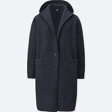 WOMEN WOOL BLEND KNIT HOODED COAT