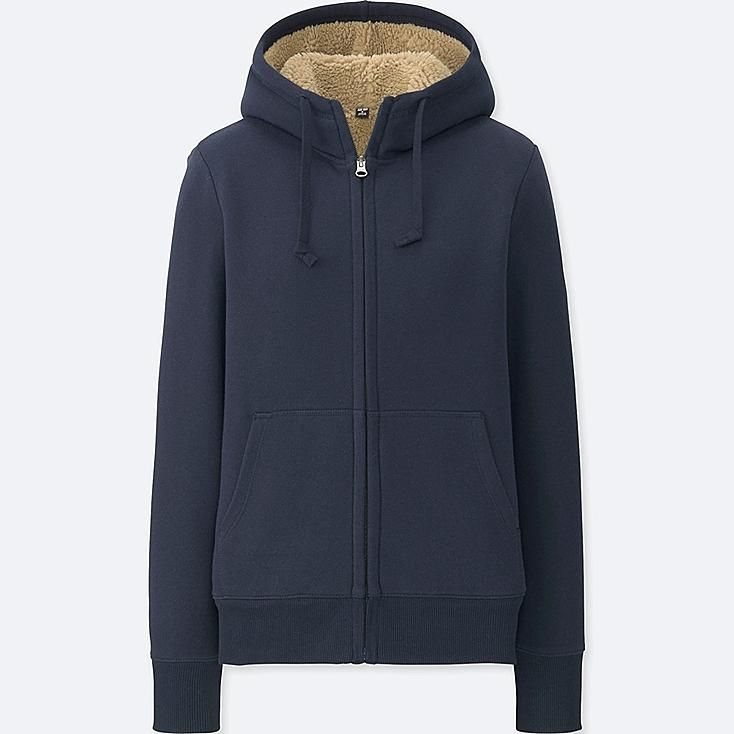 WOMEN PILE-LINED SWEAT LONG-SLEEVE FULL-ZIP HOODIE, NAVY, large