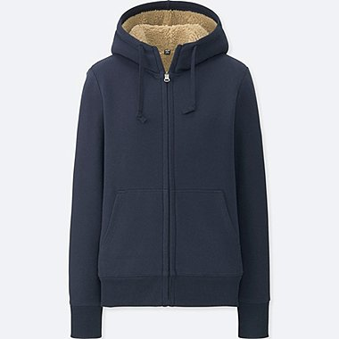 WOMEN SWEAT FLEECE LINED ZIPPED HOODIE