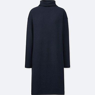 WOMEN SOFT KNITTED FLEECE LONG-SLEEVE DRESS, NAVY, medium