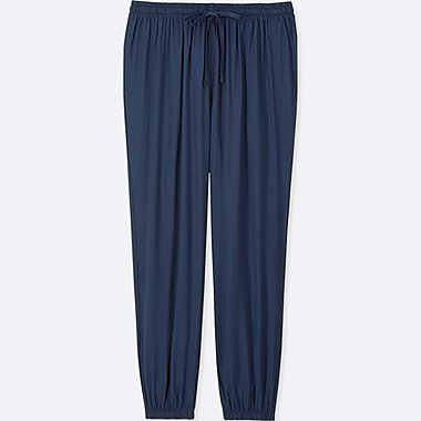 WOMEN DRAPE JOGGER PANTS, NAVY, medium