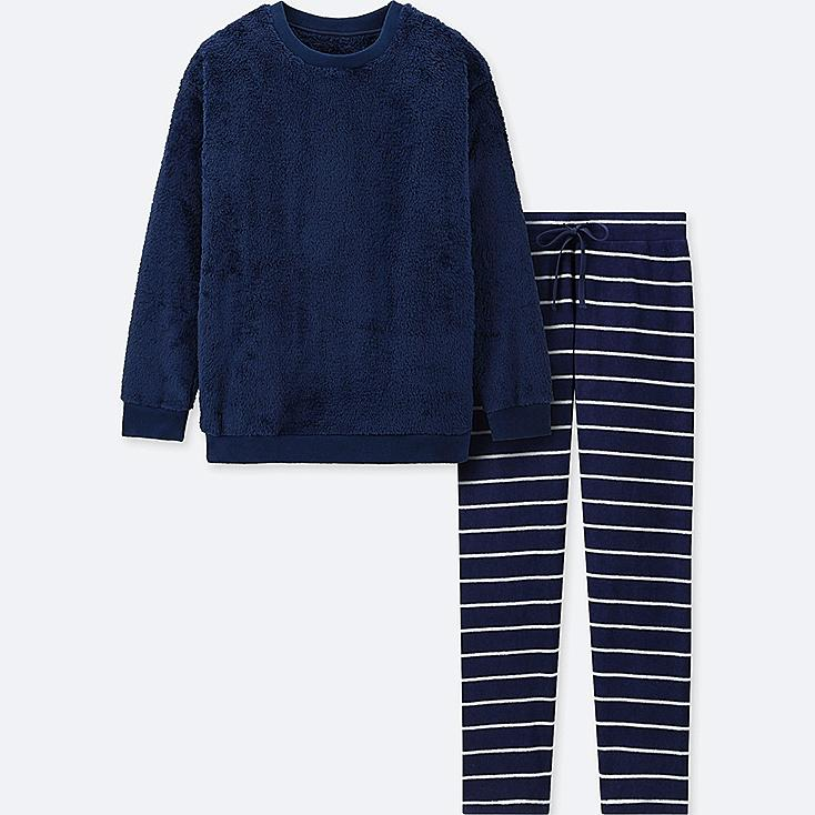 WOMEN LONG-SLEEVE STRIPED FLEECE SET, NAVY, large