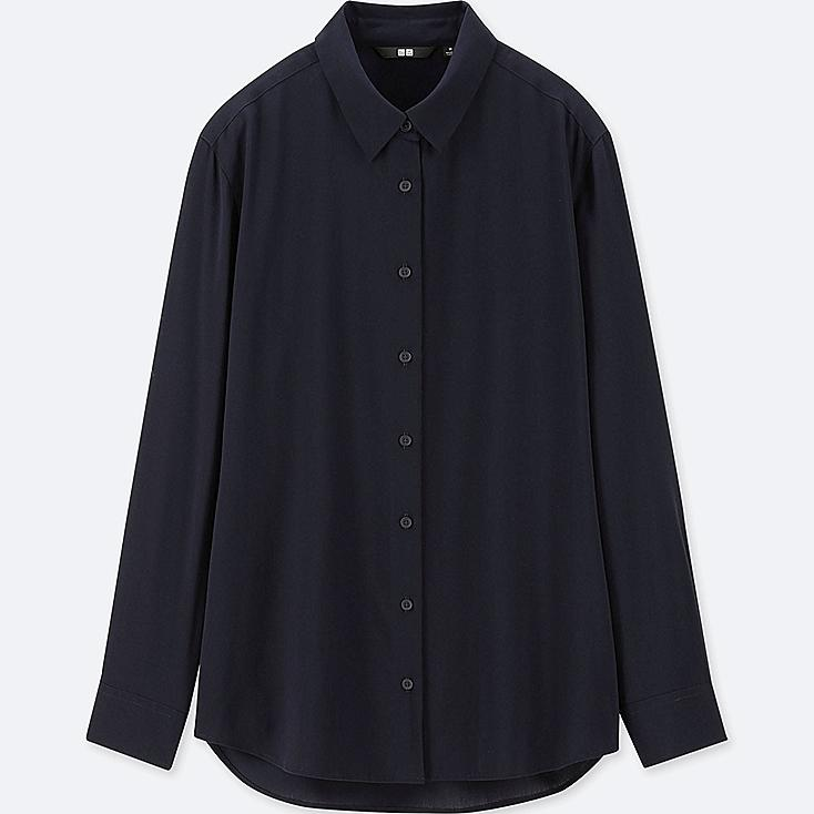 WOMEN RAYON LONG-SLEEVE BLOUSE, NAVY, large