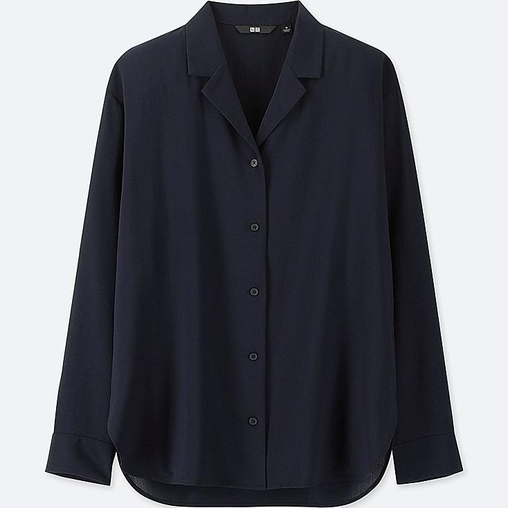 WOMEN RAYON OPEN COLLAR LONG-SLEEVE BLOUSE, NAVY, large