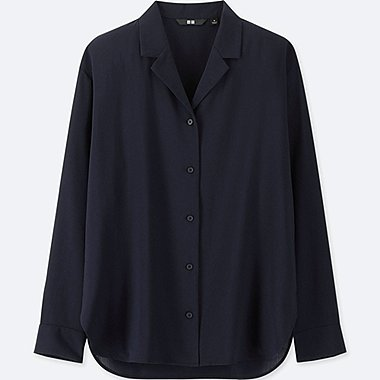 WOMEN RAYON OPEN COLLAR LONG-SLEEVE BLOUSE, NAVY, medium