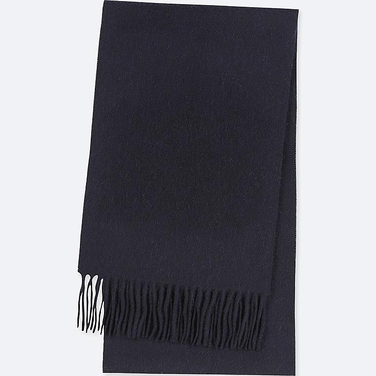 CASHMERE SCARF, NAVY, large