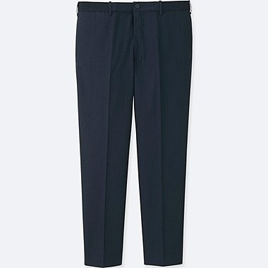 MEN RELAXED ANKLE-LENGTH PANTS (WOOL-LIKE), NAVY, medium