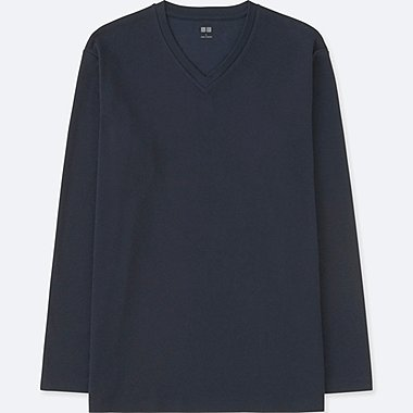 MEN SOFT TOUCH V-NECK LONG-SLEEVE T-SHIRT, NAVY, medium