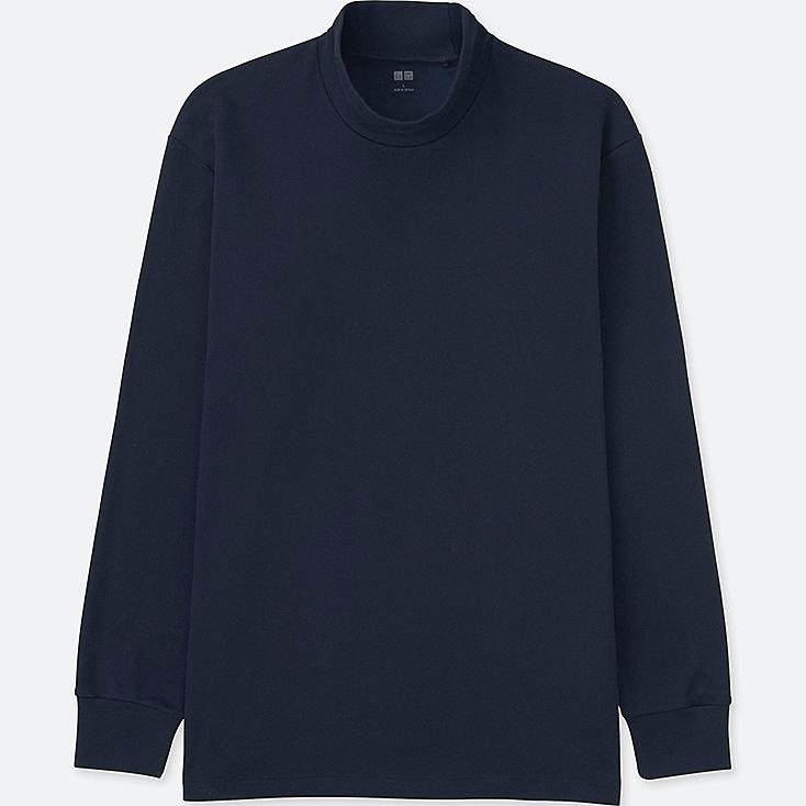 MEN SOFT TOUCH MOCK NECK LONG-SLEEVE T-SHIRT, NAVY, large