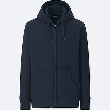 MEN LONG-SLEEVE SWEAT FULL-ZIP HOODIE, NAVY, medium