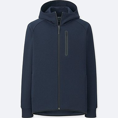 MEN DRY STRETCH SWEAT FULL-ZIP HOODIE, NAVY, medium