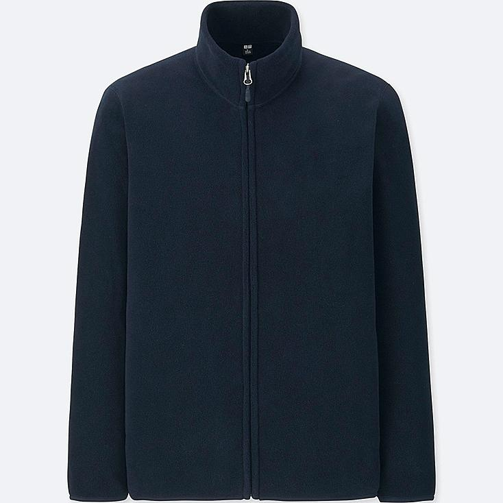 MEN FLEECE LONG-SLEEVE FULL-ZIP JACKET, NAVY, large