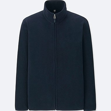 MEN FLEECE LONG-SLEEVE FULL-ZIP JACKET, NAVY, medium