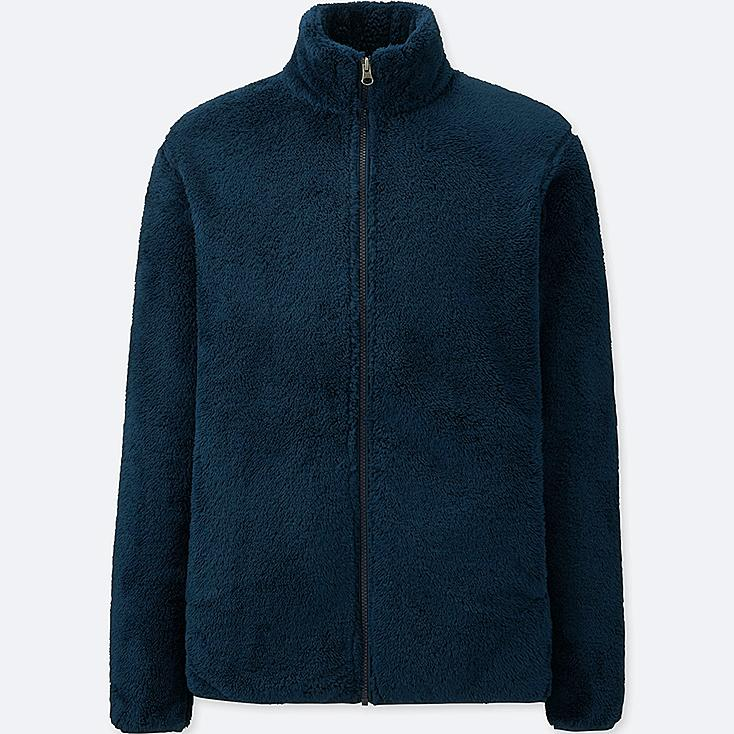 MEN FLUFFY YARN FLEECE FULL-ZIP JACKET, NAVY, large