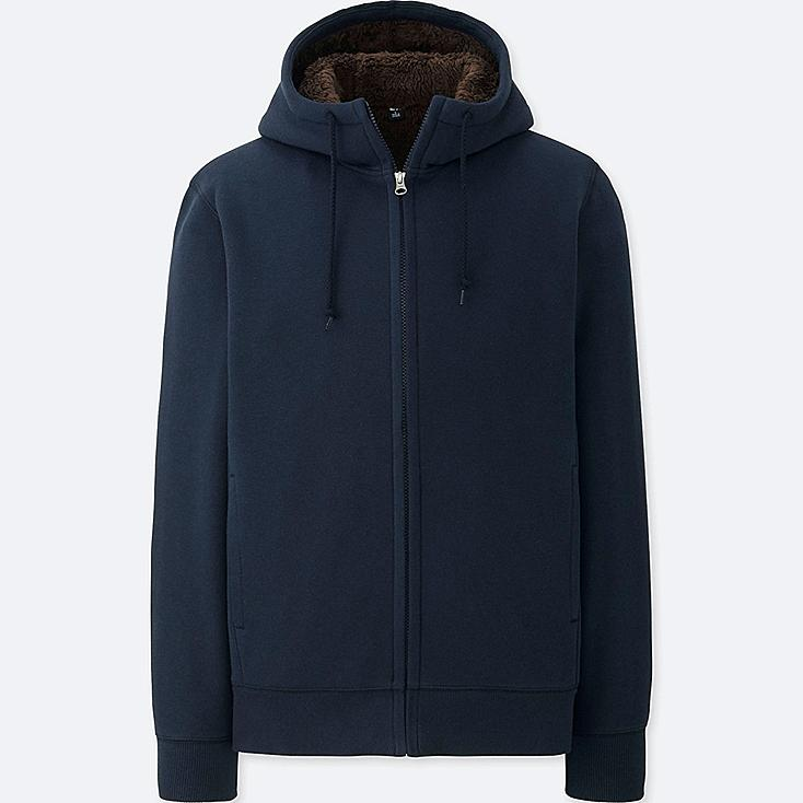 MEN PILE-LINED SWEAT FULL-ZIP HOODIE, NAVY, large