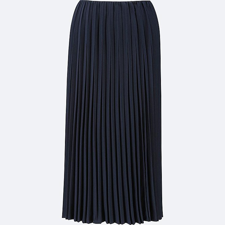 WOMEN HIGH-WAIST CREPE PLEATED SKIRT, NAVY, large