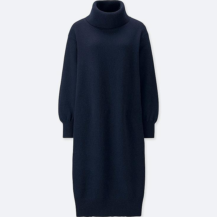WOMEN PREMIUM LAMBSWOOL TURTLENECK LONG-SLEEVE DRESS, NAVY, large