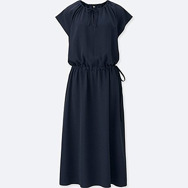 WOMEN DRAPE GATHERED SHORT-SLEEVE DRESS (ONLINE EXCLUSIVE), NAVY, medium