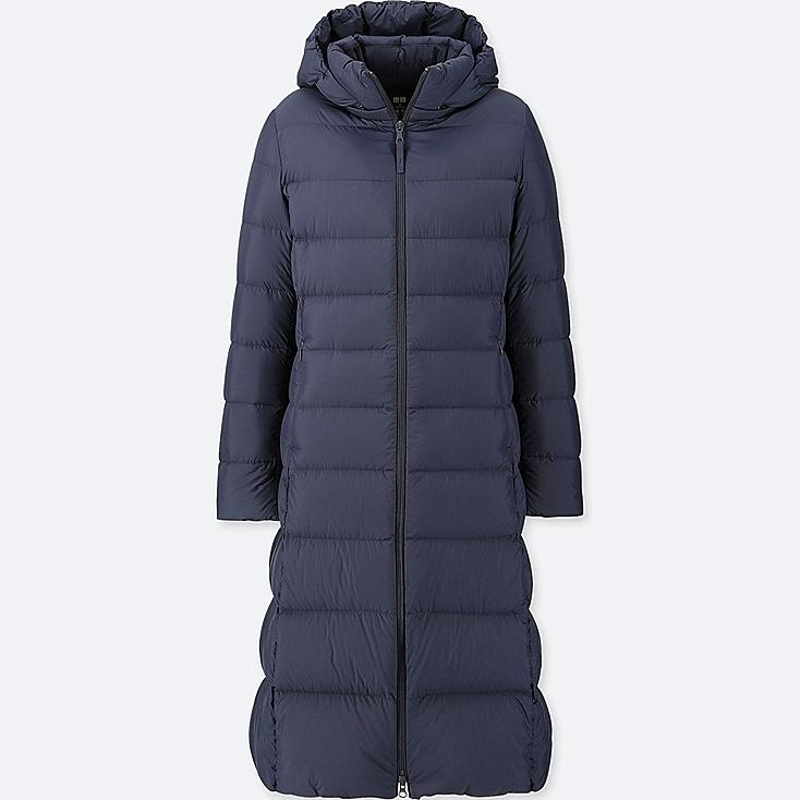 WOMEN ULTRA LIGHT DOWN LONG COAT, NAVY, large
