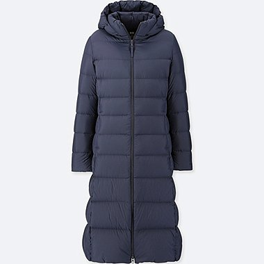 WOMEN ULTRA LIGHT DOWN LONG COAT, NAVY, medium