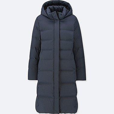 WOMEN SEAMLESS DOWN LONG COAT, NAVY, medium