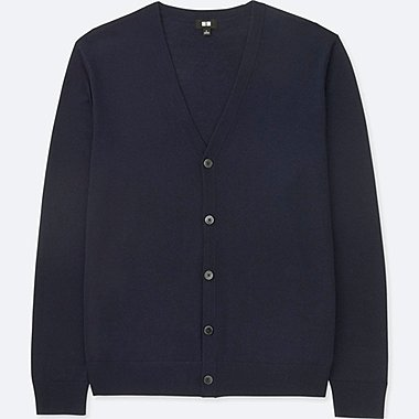 MEN EXTRA FINE MERINO V-NECK LONG-SLEEVE CARDIGAN, NAVY, medium