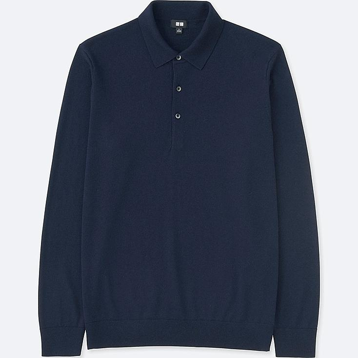 MEN EXTRA FINE MERINO KNIT LONG-SLEEVE POLO SHIRT, NAVY, large
