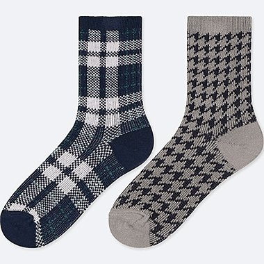 GIRLS HEATTECH SOCKS (SET OF 2), NAVY, medium