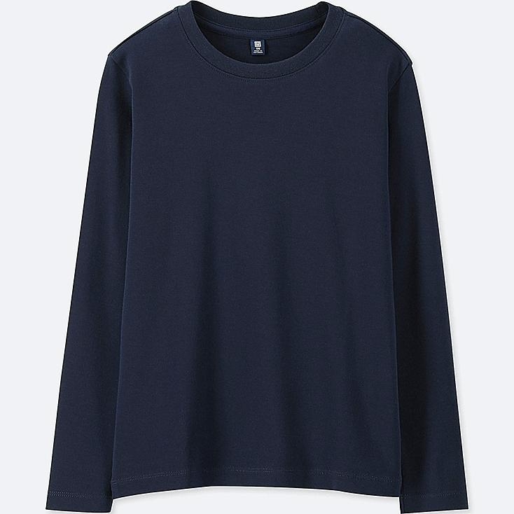 KIDS SOFT TOUCH CREW NECK LONG-SLEEVE T-SHIRT, NAVY, large
