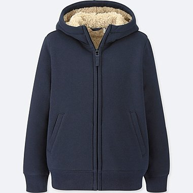 KIDS PILE-LINED SWEAT LONG-SLEEVE FULL-ZIP HOODIE, NAVY, medium
