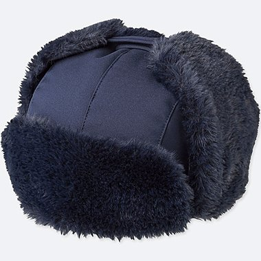 KIDS FLEECE-LINED WINDPROOF CAP, NAVY, medium