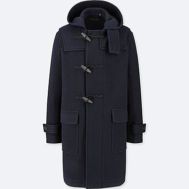 MEN WOOL-BLEND DUFFLE COAT, NAVY, medium