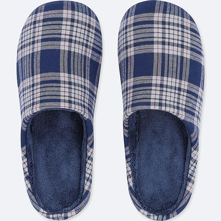 PATTERNED SLIPPERS, NAVY, large