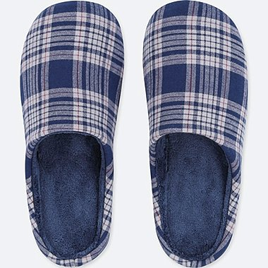 FLEECE LINED CHECKED SLIPPERS