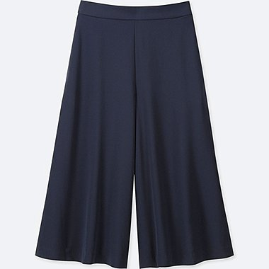 WOMEN DRAPE WIDE CROPPED PANTS (ONLINE EXCLUSIVES), NAVY, medium
