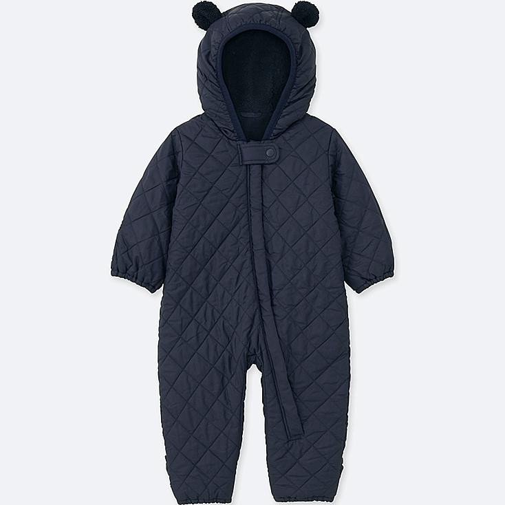 NEWBORN WARM PADDED LONG-SLEEVE ONE-PIECE OUTFIT, NAVY, large