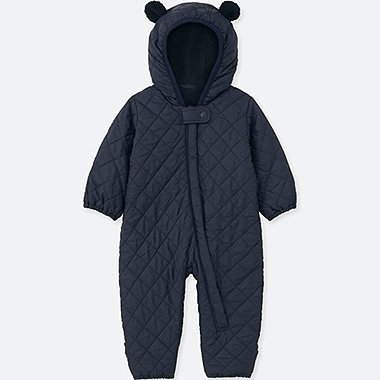 NEWBORN WARM PADDED LONG-SLEEVE ONE-PIECE OUTFIT, NAVY, medium